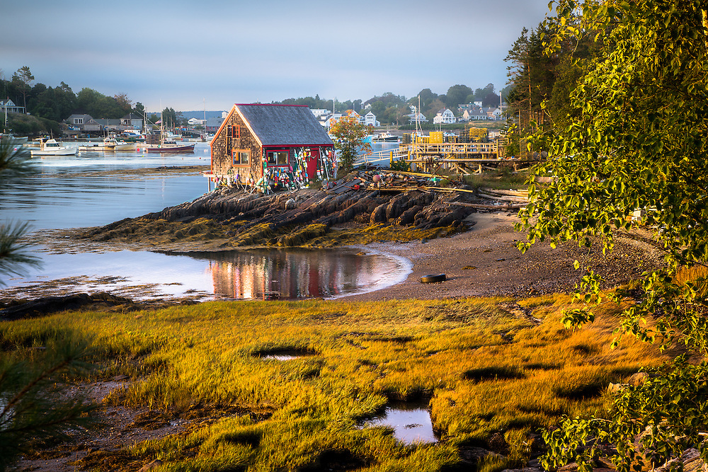 "This old fishing shack on the ""Nubble"" has seen its share of exposure, both from the weather and artists and photographers. It was recently repaired with generous donations of time and money."