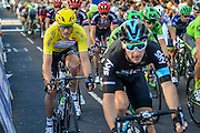 Steve Cummings (left) of Great Britain and Team Dimension Data during the Tour of Britain 2016 stage 8 , London, United Kingdom on 11 September 2016. Photo by Mark Davies.