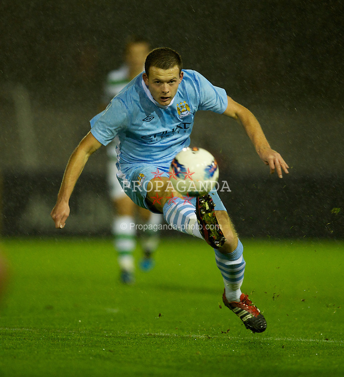 MANCHESTER, ENGLAND - Monday, October 17, 2011: Manchester City's Harry Bunn in action against Glasgow Celtic during the NextGen Series Group 1 match at Ewen Fields. (Pic by David Rawcliffe/Propaganda)
