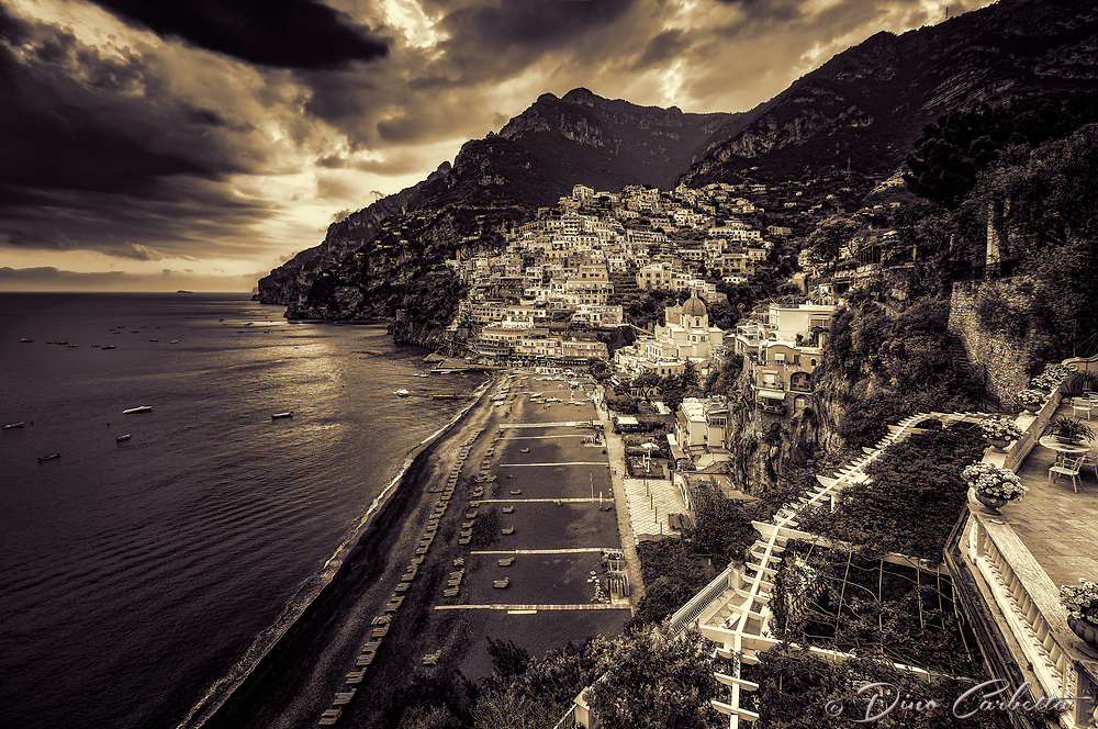 """Ominous evening clouds above Positano - BW""…<br />