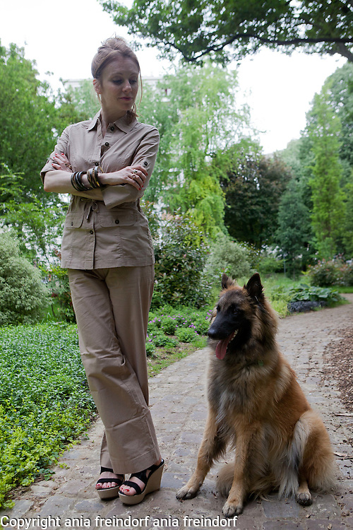 Sophie Brafman and Max The Dog,  in Paris. Damart Fashion with Sophie Brafman