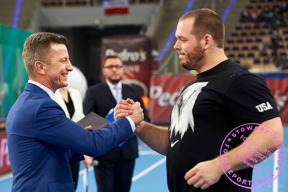 (R) Ryan Whiting from USA and (L) Krzysztof Klimczak President Board of Strauss Cafe Poland during athletics meeting Pedro's Cup at Atlas Arena in Lodz, Poland.<br /> <br /> Poland, Lodz, February 17, 2015<br /> <br /> Picture also available in RAW (NEF) or TIFF format on special request.<br /> <br /> For editorial use only. Any commercial or promotional use requires permission.<br /> <br /> Adam Nurkiewicz declares that he has no rights to the image of people at the photographs of his authorship.<br /> <br /> Mandatory credit:<br /> Photo by &copy; Adam Nurkiewicz / Mediasport