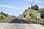 Spanish Highway the French Border crossing Photographed in Catalonia, Spain