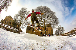 Pictured: Snowboarders today (1.3.18) at Linlithgow Palace, Linlithgow. Snowoarders take advantage of the Storm Emma best from the east snowfalls to put in some tricks in front of Historic Linlithgow Palace. <br /> Andrew West/ EEm