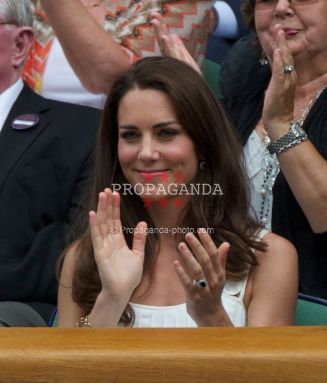LONDON, ENGLAND - Monday, June 27, 2011: Newlywed Kate Middleton, aka the Duchess of Cambridge, during the Gentlemen's Singles 4th Round match on day seven of the Wimbledon Lawn Tennis Championships at the All England Lawn Tennis and Croquet Club. (Pic by David Rawcliffe/Propaganda)