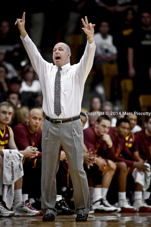 SHOT 2/19/14 10:53:40 PM - Arizona State head basketball coach Herb Sendek calls out a play from the sidelines during their regular season Pac-12 basketball game against Colorado at the Coors Events Center in Boulder, Co. Colorado won the game 61-52.<br /> (Photo by Marc Piscotty / &copy; 2014)