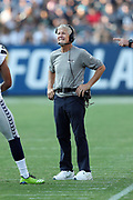 Seattle Seahawks head coach Pete Carroll looks on during the 2017 NFL week 1 preseason football game against the against the Los Angeles Chargers, Sunday, Aug. 13, 2017 in Carson, Calif. The Seahawks won the game 48-17. (©Paul Anthony Spinelli)