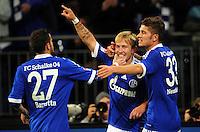 FUSSBALL   1. BUNDESLIGA   SAISON 2012/2013   5. SPIELTAG FC Schalke 04 - FSV Mainz 05                               25.09.2012        Tranquillo Barnetta, Lewis Holtby und Roman Neustaedter  (v.l., alle FC Schalke 04) jubeln nach dem 2:0