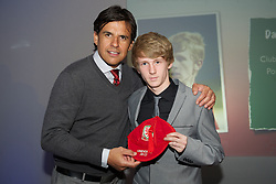 CARDIFF, WALES - Saturday, May 11, 2013: Daniel Byrnes is presented with his U16's cap by Wales national team manager Chris Coleman at the FAW Trust Under-16's cap presentation. (Pic by David Rawcliffe/Propaganda)