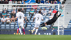 Falkirk's Will Vaulks shot just misses. Falkirk 1 v 2 Inverness CT, Scottish Cup final at Hampden.
