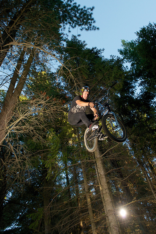 "Lights in the woods - Lighting photo shoot in the BMX forest trails of Wanaka,  New Zealand. With local rider James ""Jimmy"" Keane and Canadian Cory Clarke."