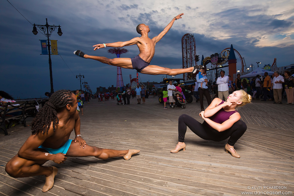 Dance As Art  New York City Photography Coney Island Boardwalk with dancers Mykaila Symes, Kevin Mimms and Daniel White