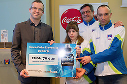 Uros Kanduc of Coca-Cola Hellenic Slovenija, Larisa Bitici (CIRIUS Vipava), Ljubomir Milicevic and Andrej Rauh (CUDV Crna) during press conference of Special olympic team of Slovenia before departure to Special Olympics PyeongChang 2013 in South Korea on January 24, 2013 in Hotel Mons, Ljubljana, Slovenia. he next Special Olympics World Games take place in PyeongChang, South Korea, 29 January to 5 February 2013. (Photo by Vid Ponikvar / Sportida.com)