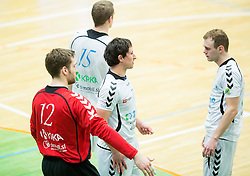 Klemen Ferlin of Trimo Trebnje, Marko Radelj of Trimo Trebnje and Luka Florjancic of Trimo Trebnje during handball game between RK Trimo Trebnje and RK Gorenje Velenje in 3rd place match of Slovenian Cup  2014 on March 2, 2014 in Arena Golovec, Celje, Slovenia. Photo by Vid Ponikvar / Sportida