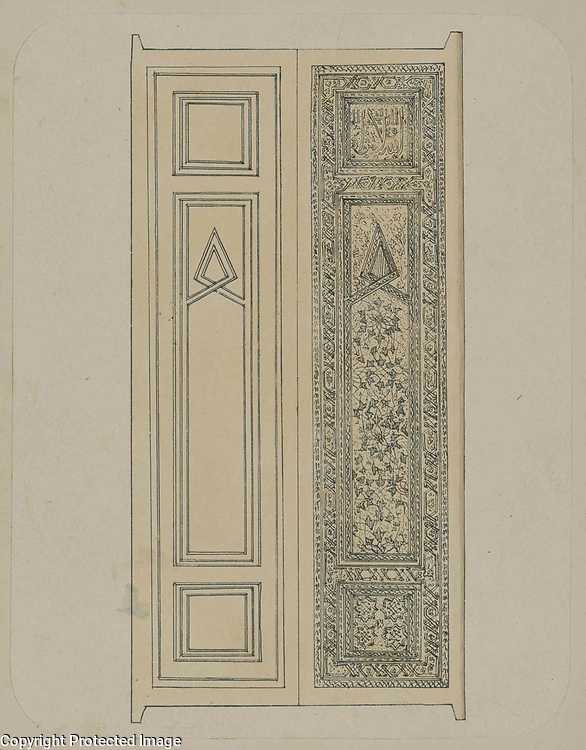 1868<br /> This sketch of a door at the Gur-Emir mausoleum in Samarkand (Uzbekistan) is from the archeological part of Turkestan Album. The six-volume photographic survey was produced in 1871-72 under the patronage of General Konstantin P. von Kaufman, the first governor-general (1867-82) of Turkestan, as the Russian Empire&rsquo;s Central Asian territories were called. The album devotes special attention to Samarkand&rsquo;s Islamic architectural heritage, including Gur-Emir (Persian for &ldquo;tomb of the ruler&rdquo;). Although known primarily as the burial place of Timur (Tamerlane), Gur-Emir was begun by Timur in 1403 to commemorate the death of his beloved grandson, Muhammad Sultan. His sudden death at the age of 27 deprived Timur of his chosen successor. The shrine was not yet completed at the time of Timur's own death from pneumonia in 1405. With his burial there, Gur-Emir became the Timurid mausoleum. This view of a wooden double door, probably within the iwan (vaulted hall, walled on three sides, with one end open) of the entrance arch, presents a detailed sketch of the right half. At the top is a square panel with intricate relief carving as a background for cursive Arabic letters. Beneath this panel is a carved design with intertwined foliate patterns in a flowing geometric arrangement. The bottom has another square panel with four astral forms at the corners. The panels are framed by a border with elaborate relief carving.