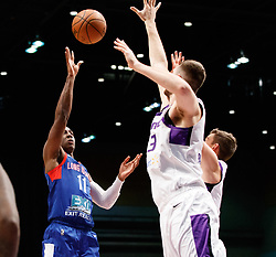 November 19, 2017 - Reno, Nevada, U.S - Long Island Nets Guard SHANNON SCOTT (11) shoots over Reno Bighorns Center GEORGIOS PAPAGIANNIS (13) and Reno Bighorns Guard DAVID STOCKTON (11) during the NBA G-League Basketball game between the Reno Bighorns and the Long Island Nets at the Reno Events Center in Reno, Nevada. (Credit Image: © Jeff Mulvihill via ZUMA Wire)