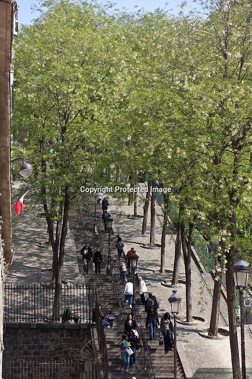 = Paris The stairs of Montmartre hill , Paris, France /// Les escaliers de Montmartre +