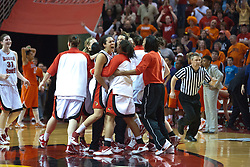28 March 2010: The Redbirds meet at center court over the Battle Bird to celebrate the win. The Redbirds of Illinois State squeak past the Illini of Illinois 53-51 in the 4th round of the 2010 Women's National Invitational Tournament (WNIT) on Doug Collins Court inside Redbird Arena at Normal Illinois.