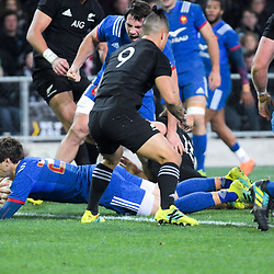 France's Baptiste Serin scores during the Steinlager Series international rugby match between the New Zealand All Blacks and France at Forsyth Barr Stadium in Wellington, New Zealand on Saturday, 23 June 2018. Photo: Dave Lintott / lintottphoto.co.nz