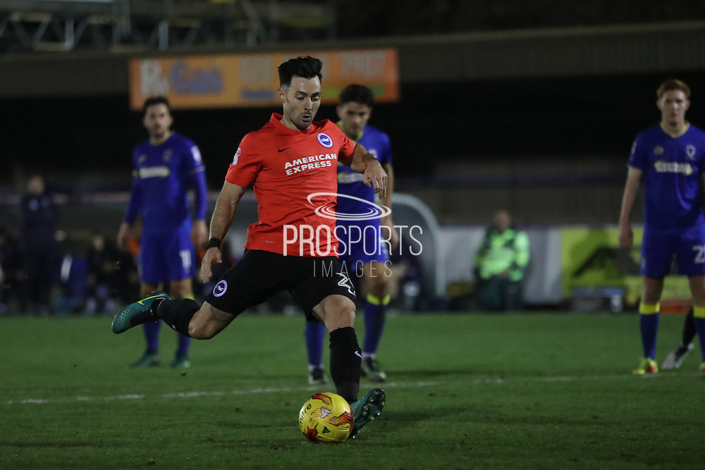 Brighton & Hove Albion striker Richie Towell (29) takes a penalty and scores a goal 2-0 during the EFL Trophy match between AFC Wimbledon and U23 Brighton and Hove Albion at the Cherry Red Records Stadium, Kingston, England on 6 December 2016.