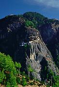 The Tak Tsang (Tiger's Nest) Buddhist monastery nestled on the granite cliffs above Paro, Bhutan.