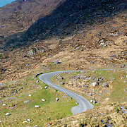 Road going down the valley heading to Gap of Dunloe, Ireland