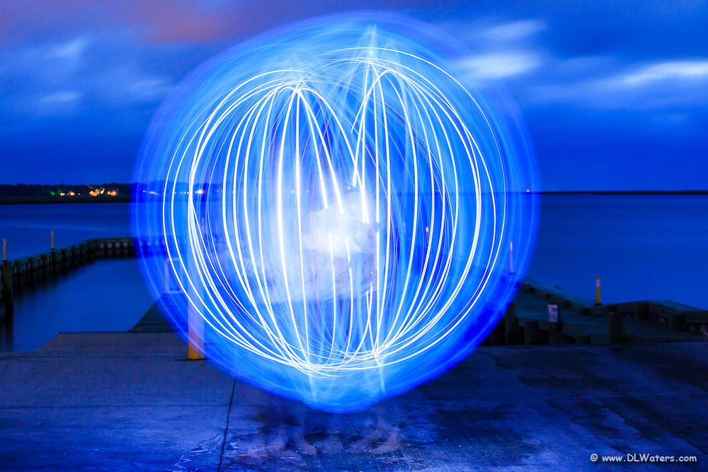 This photograph was created with light traces from a blue flashlight.