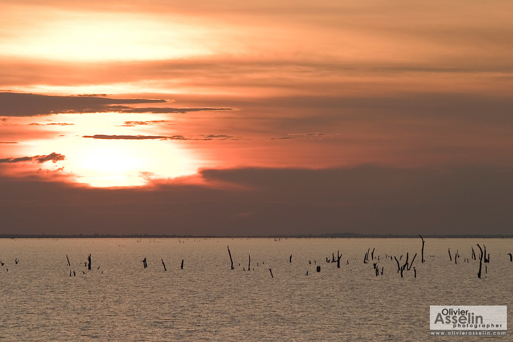 Sunset on Lake Volta, the world's largest man-made lake, Ghana.