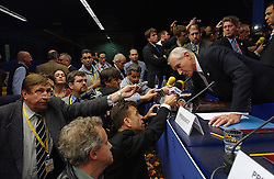 Bernard Bot , Foreign Minister of the Netherlands, speaks to members of the press, following a news conference of the Dutch Presidency of the European Union during the European Summit in Brussels, Belgium on Friday, Nov. 5, 2004. (Photo © Jock Fistick)