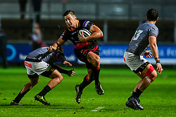 Dragons' Carl Meyer is tackled by Southern Kings' Godlen Masimla - Mandatory by-line: Craig Thomas/JMP - 30/09/2017 - RUGBY - Rodney Parade - Newport, Gwent, Wales - Newport Gwent Dragons v Southern Kings - Guinness Pro 14