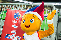 "Mascot of Eurobasket 2015 ""Frankie Fireball"" during friendly basketball match between National teams of Slovenia and Australia, on August 4, 2015 in Arena Stozice, Ljubljana, Slovenia. Photo by Vid Ponikvar / Sportida"