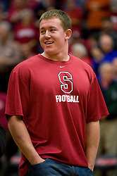 December 15, 2009; Stanford, CA, USA;  Stanford Cardinal running back Toby Gerhart is recognized as the 2009 Doak Walker award winner and Heisman Trophy finalist during halftime of the women's basketball game between Stanford and the Duke Blue Devils at Maples Pavilion.