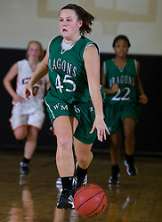 William Monroe guard Melanie Lamb (45) dribbles up court on a fast break.  The Charlottesville High School Lady Black Knights defeated the William Monroe High School Dragons 48-45 in girls basketball at the CHS Gymnasium in Charlottesville, VA on December 19, 2008.  (Special to the Daily Progress / Jason O. Watson)
