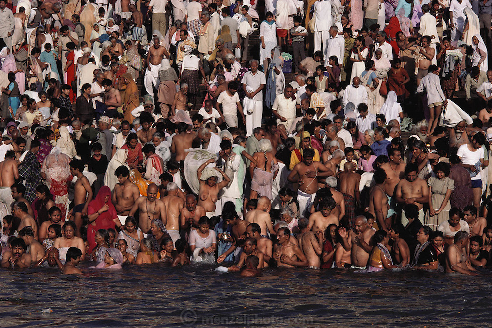 Every 12 years, millions of devout Hindus celebrate the month-long festival of Kumbh Mela by bathing in the holy waters of the Ganges at Hardiwar, India. Hundreds of ashrams set up dusty, sprawling camps that stretch for miles. Under the watchful eye of police and lifeguards, the faithful throng to bathe in the river.