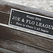 View in winter of memorial plaque on bench on the Boardwalk of Atlantic City, NJ<br />
