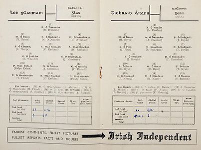 All Ireland Senior Hurling Championship Final,.Programme,.09.02.1951, 02.09.1951, 2nd September 1951,.Wexford 3-9, Tipperary 7-7,.Minor Cork v Galway, .Senior Wexford v Tipperary, .Croke Park, ..Wexford Senior Team, R Brennan, Goalkeeper, M Byrne, Right corner-back, N O'Donnell, Full-back, M O'Hanlon, Left corner-back, S Thorpe, Right half-back, R Rackard, Centre half-back, W Rackard, Left half-back, E Wheeler, Midfielder, J Morrissey, Midfielder, Padge Kehoe, Right half-forward, J Cummins, Centre half-forward, T Russell, Left half-forward, T Flood, Right corner-forward, N Rackard, Center forward,  Paddy Kehoe, Left corner-forward, Substitutes, D Aherne, M Flood, D O'Neill, S Hearne, J Rackard, ..Tipperary Senior Team, A Reddan, Goalkeeper, M Byrne, Right corner-back, A Brennan, Full-back, J Doyle, Left corner-back, J Finn, Right half-back, P Stakelum, Centre half-back, T Doyle, Left half-back, J Hough, Midfielder, P Shanahan, Midfielder, E Ryan, Right half-forward, M Ryan, Centre half-forward, T Ryan, Left half-forward, P Kenny, Right corner-forward, M Maher, Centre forward, S Bannon, Left corner-forward, Substitutes, C Keane, J Walsh, P Ryan, T Kevin, P Fleming, ..Advertisements, Irish Independent,
