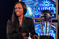 Elana Afrika with the CLT20 trophy during the official launch press conference and party for the Airtel Champions League T20 tournament (being held in South Africa in September 2010) held at Taboo nightclub in Sandton, Johannesburg on the 10 August 2010..Photo by..CLT20 / SPORTZPICS