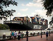 NYK Adonis heads up river to the Port of Savannah at the Georgia Ports Authority Garden City Terminal, Saturday, July, 25 2015, in Savannah, Ga.  (GPA Photo/Stephen B. Morton)