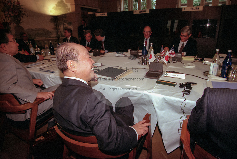 Japanese Finance Minister Kiichi Miyazawa during a working meeting at the International Monetary Fund World Bank annual meeting October 6, 1998 in Washington, DC.