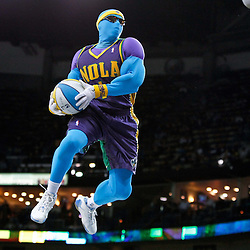February 10, 2012; New Orleans, LA, USA; New Orleans Hornets mascot Air Hugo perfroms during the a game against the Portland Trail Blazers at the New Orleans Arena. The Trail Blazers defeated the Hornets 94-86. Mandatory Credit: Derick E. Hingle-US PRESSWIRE