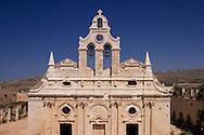 The Venetain facade of the Arkadhi Monastery ( Moni Arkadhi)<br /> twenty-five miles from Rethymnon, Crete, Greece