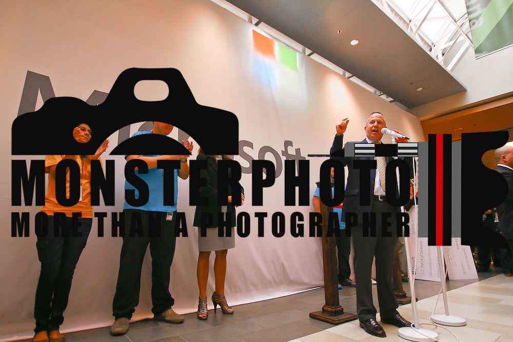 Delaware Gov. Jack Markell gives remarks prior to the opening of the new Microsoft store Saturday, Sept. 29 2012, at Christiana Mall in Newark DE..