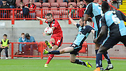Gwion Edwards looking to continue his scoring streak with a curling effort during the Sky Bet League 2 match between Crawley Town and Wycombe Wanderers at the Checkatrade.com Stadium, Crawley, England on 29 August 2015. Photo by Michael Hulf.