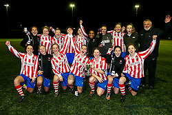 Cheltenham Town celebrations - Rogan Thomson/JMP - 11/04/2017 - FOOTBALL - GFA HQ - Bristol, England - Cheltenham Town v St Nicholas Reserves - Gloucestershire FA Womens' Trophy Final.