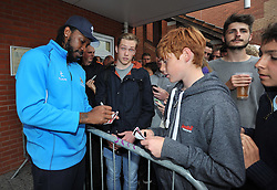 Somerset's Chris Gayle poses for pictures with fans. - Photo mandatory by-line: Harry Trump/JMP - Mobile: 07966 386802 - 12/06/15 - SPORT - CRICKET - Somerset v Surrey - The County Ground, Taunton, England.