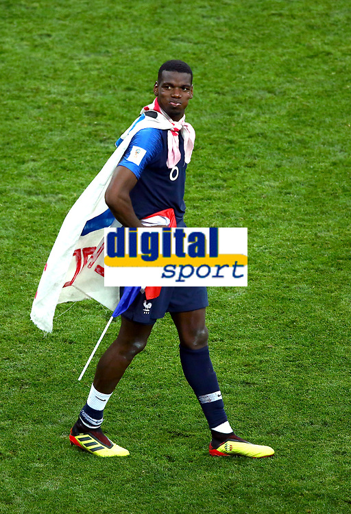 Paul Pogba (France) celebrate with the France flag on the pitch after the award ceremony<br /> Celebration Victory France <br /> Moscow 15-07-2018 Football FIFA World Cup Russia  2018 Final / Finale <br /> France - Croatia / Francia - Croazia <br /> Foto Matteo Ciambelli/Insidefoto