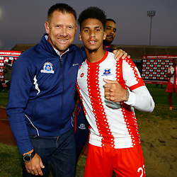 Eric Tinkler (Head Coach) of Maritzburg Utd with Rushine De Reuck of Maritzburg Utd during the Premier Soccer League (PSL) promotion play-off  match between  Royal Eagles and Maritzburg United F.C. at the Chatsworth Stadium Durban.South Africa,29,05,2019