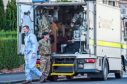 © Licensed to London News Pictures.  23/07/2018; Bristol, UK. Police, forensics and Bomb Disposal team attend a house in Filton Avenue, Horfield, Bristol, following the discovery of a suspicious package. Police have said that a viable device was found at the property, and a man aged in his 30s has been arrested in connection with the incident and inquiries are ongoing. Some people have been evacuated from their homes. Photo credit: Simon Chapman/LNP