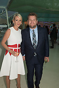 James Corden WITH HIS wife Julia Carey, Serpentine's Summer party co-hosted with Christopher Kane. 15th Serpentine Pavilion designed by Spanish architects Selgascano. Kensington Gardens. London. 2 July 2015.
