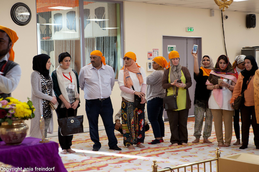 France, Bobigny, &quot;This is Bahrain&quot; religious freedom delegation visits the Culte Sikh. &quot;This is Bahrain&quot;, delegation a multi-faith group of Bahrainis and expatriates, set up to highlight religious tolerance in Bahrain and promote understanding between cultures and faiths, is the brainchild of the Bahrain Federation of Expatriate Associations (BFEA).<br /> Paris, FRANCE - 15/06/2015.